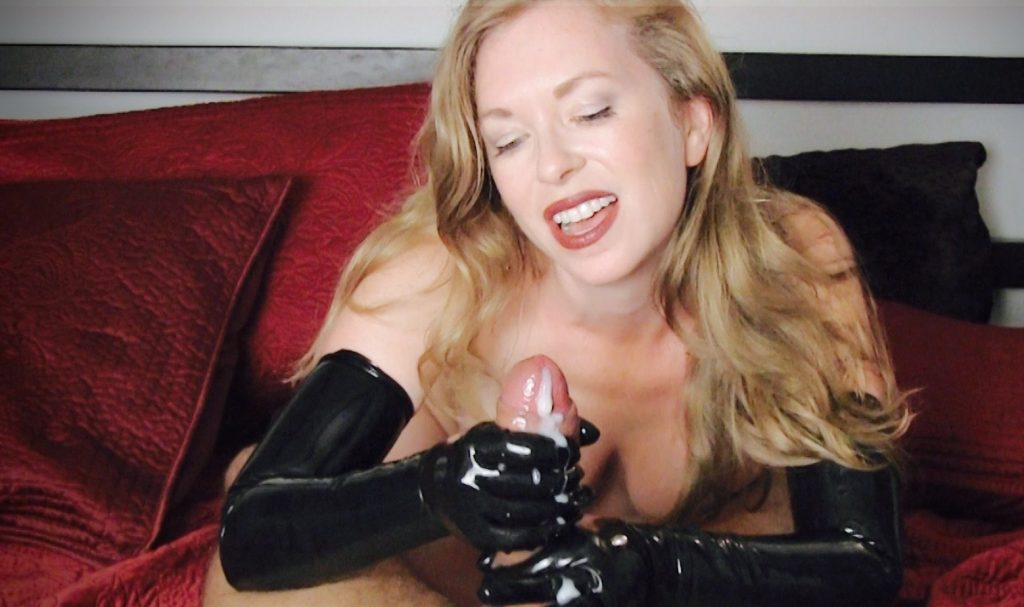 gloves on cock